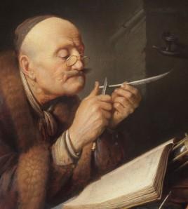 Gerrit Dou - Geleerde die zijn pen snijdt