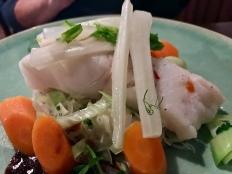 Kabeljouw op bedje van mihoen met wortel en prei