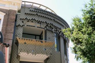 Detail nieuwe gevel stadsvilla
